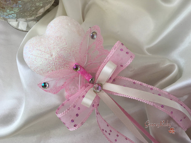 White Glitter Heart Wand With Dusky Pink Sheer Butterfly & Ribbons