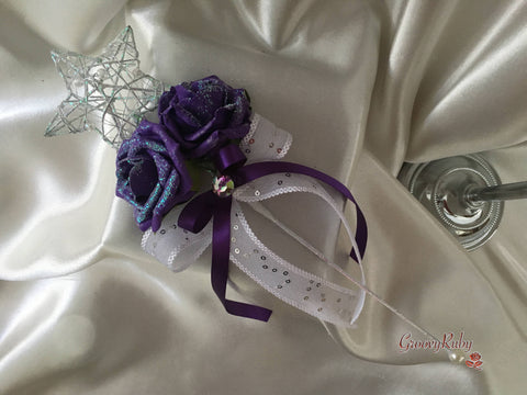 Silver Star Flower Girl Wand With Cadbury Purple Shimmer Roses & Purple Ribbons