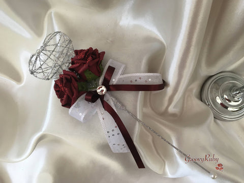Silver Heart Flower Girl Wand With Burgundy Glitter Roses & Burgundy Ribbons