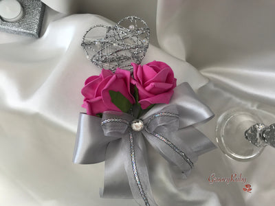 Silver Heart Flower Girl Wand With Hot Pink Roses & Ribbons
