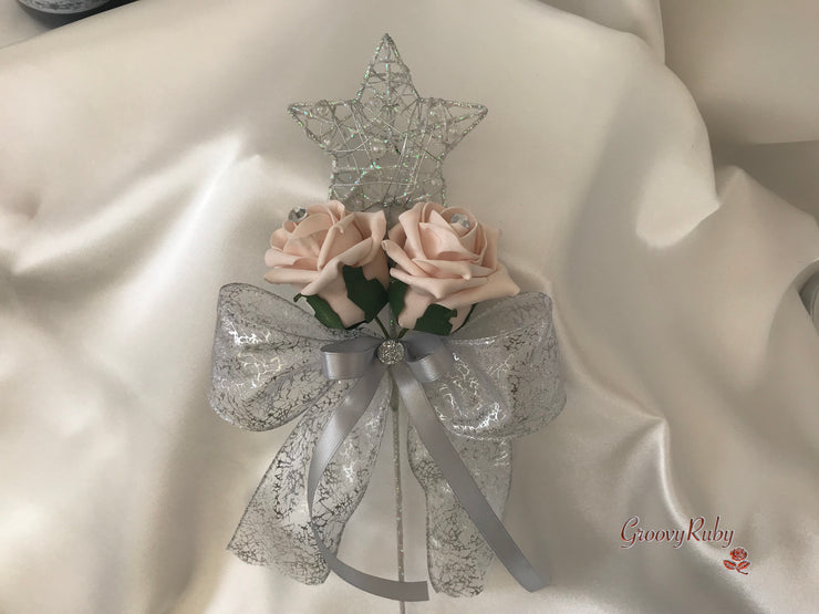 Silver Star Flower Girl Wand With Mocha Pink Roses & Ribbons