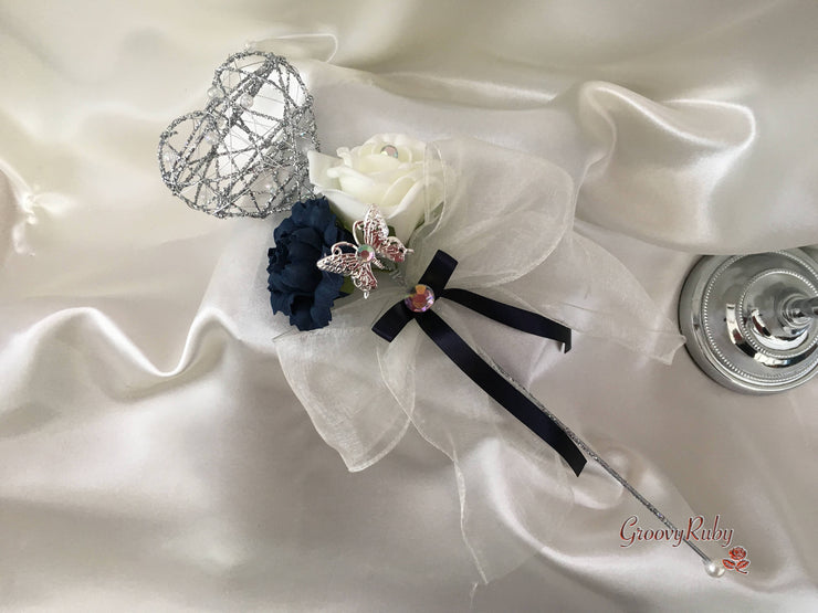 Silver Heart Flower Girl Wand With Navy Carnation & Ivory Rose With Iridescent Butterfly