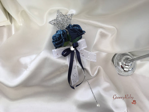 Silver Star Flower Girl Wand With Navy Glitter Roses & Navy Ribbons