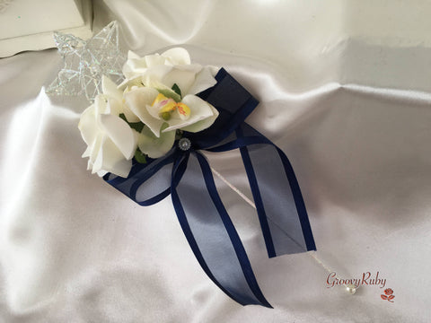 Silver Star Flower Girl Wand With Ivory Orchid, Roses & Navy Organza Bow