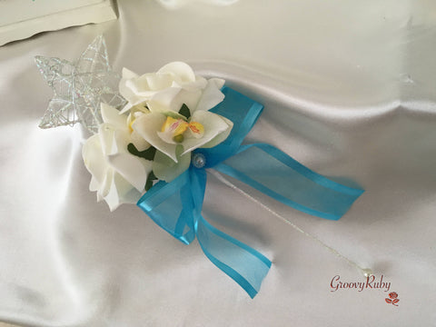Silver Star Flower Girl Wand With Ivory Orchid, Roses & Turquoise Organza Bow