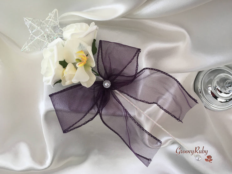 Silver Star Flower Girl Wand With Ivory Orchid, Roses & Plum Organza Bow