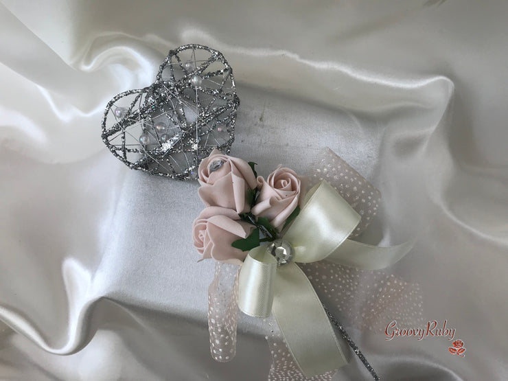 Silver Heart Flower Girl Wand With Vintage Mocha Pink Rose Buds & Ribbons