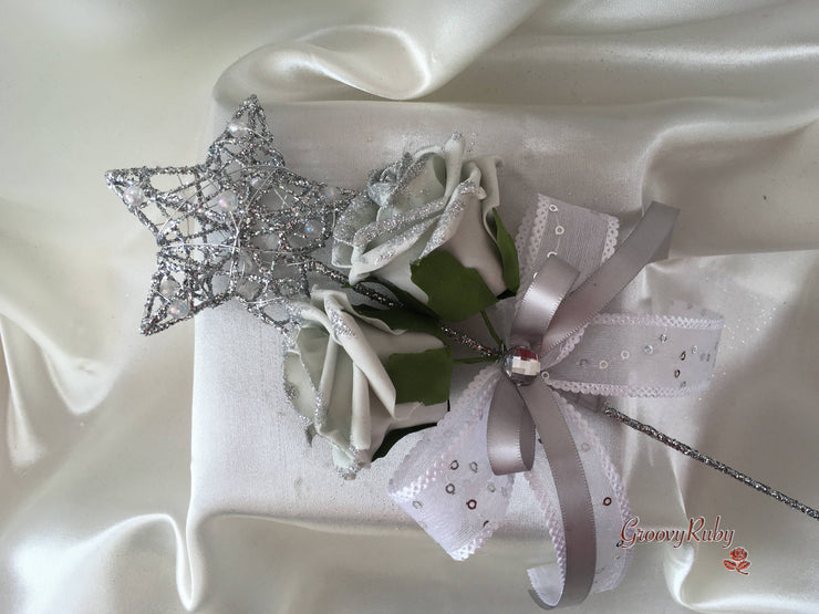 Silver Star Flower Girl Wand With Silver Glitter Roses & Silver Ribbons