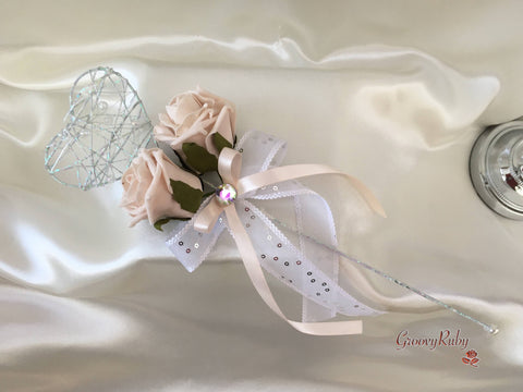Silver Heart Flower Girl Wand With Vintage Mocha Pink Roses & Ribbons