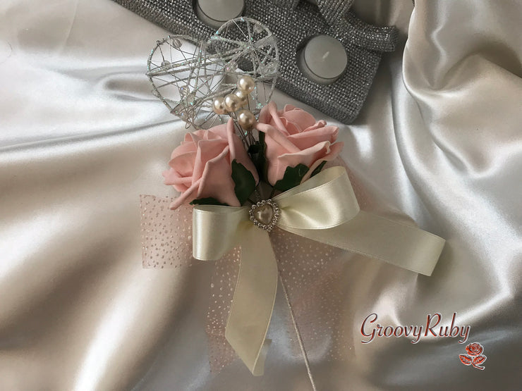 Silver Heart Flower Girl Wand With Vintage Peach Roses, Pearl Spray & Ribbons