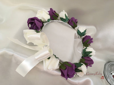 Bridesmaid Flower Head Garland - Plum