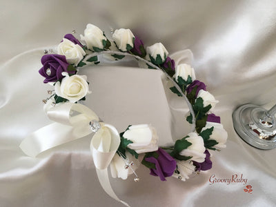 Bride Flower Head Garland - Plum