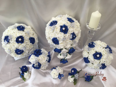Royal Blue & Ivory Roses With Glitter Butterflies & Silver Babies Breath