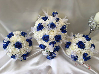 Royal Blue & Ivory Rose Vintage