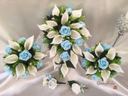 Baby Blue Rose & Large Ivory Calla Lily
