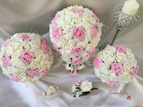 Baby Pink & Ivory Rose Crystal With Ivory Pearl Babies Breath