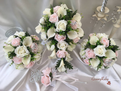 Blush Pink Rose & Large Ivory Calla Lilies With Crystal Butterfly Brooch