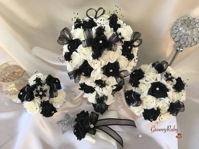 Black Diamante Flower Brooch With Black & Ivory Roses