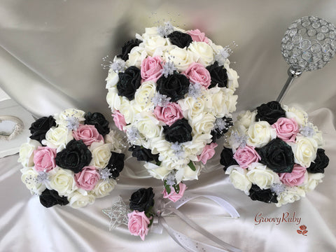 Black Glitter & Dusky Pink Roses With Silver Babies Breath