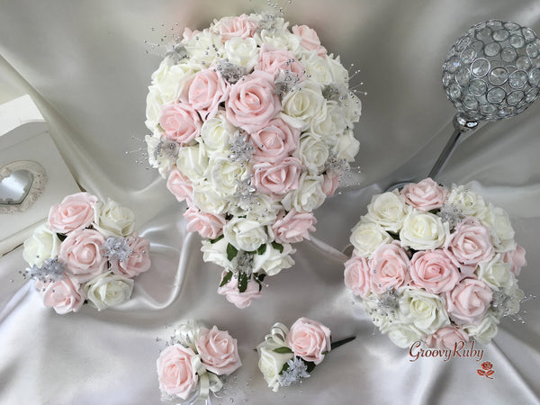 Blush Pink Glitter Rose With Silver Babies Breath