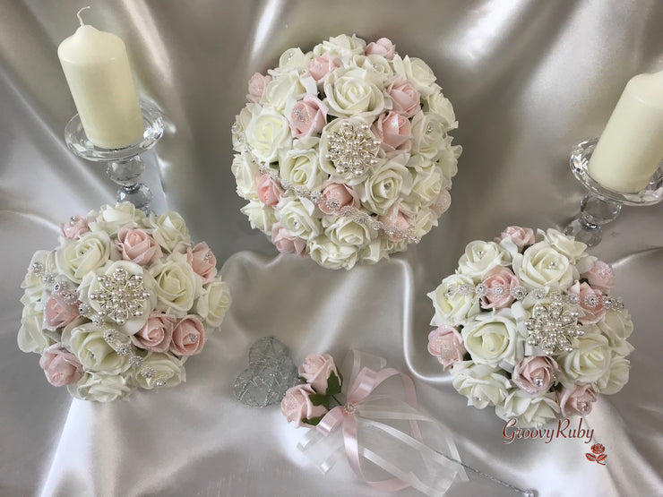 Blush Pink Glitter & Ivory Roses With Pearl Diamanté Garland & Pearl Diamanté Brooch