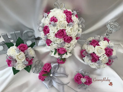 Hot Pink & Ivory Roses With Glitter Ribbon & Heart Brooch