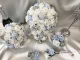 Ice Blue, Silver & White Roses With Delicate Heart Brooch