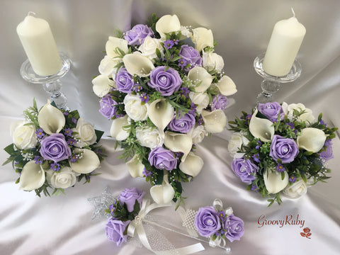 Lilac Daisies With Calla Lilies & Roses