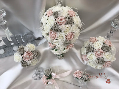 Mocha Pink & Silver Roses With Diamanté Silver Love Brooch