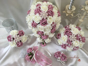 Victorian Rose & Ivory Roses With Pearl Diamanté Garland & Pearl Diamanté Brooch