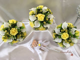 Lemon Rose & Ivory Calla Lilies With Daisy Sprays