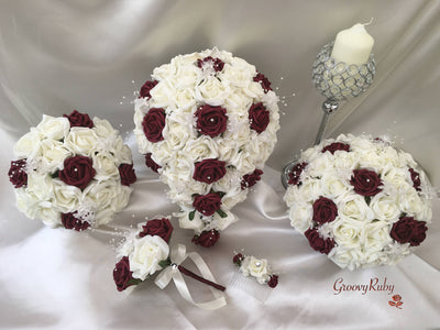 Burgundy & Ivory Rose Crystal With Ivory Pearl Babies Breath