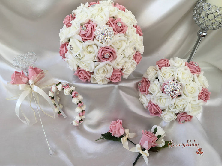 Dusky Pink & Ivory Rose With Iridescent Brooches