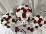 Burgundy Glitter Rose With Silver Babies Breath