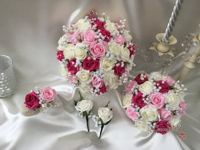 Baby Pink, Hot Pink & Ivory Roses With Gypsophila, Pearl Loops & Pearl Sprays