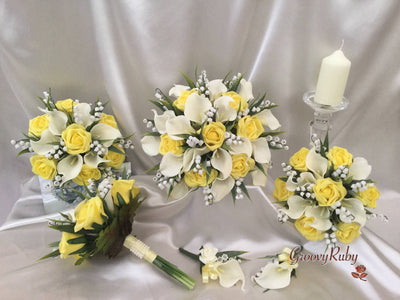 Lemon Roses With Lily of the Valley & Large Calla Lily