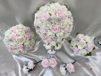 Light Pink & Ivory Roses With Pearls