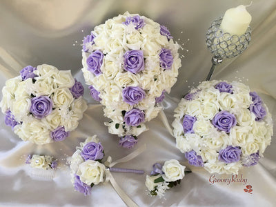 Lilac & Ivory Rose Crystal With Ivory Pearl Babies Breath
