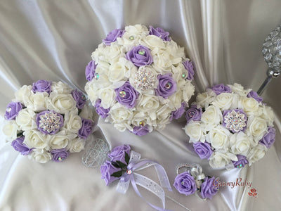 Lilac & Ivory Rose With Iridescent Brooches