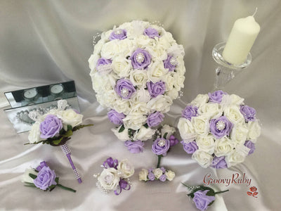 Lilac & Ivory Rose With Vintage Brooch & Lace Pearl Loops