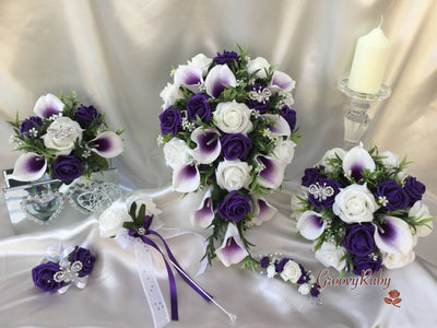 White & Cadbury Purple Centred Calla Lilies With Roses & Crystal Butterfly Brooch