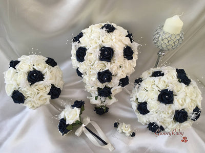 Navy & Ivory Rose Crystal With Ivory Pearl Babies Breath