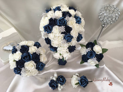Navy Glitter Rose With Silver Babies Breath