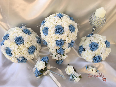 Powder/Baby Blue & Ivory Rose Crystal With Ivory Pearl Babies Breath