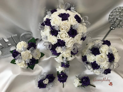 Purple & Ivory Roses With Glitter Ribbon & Heart Brooch