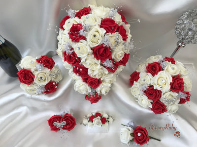 Red & Ivory Rose With Silver & Crystal Butterfly