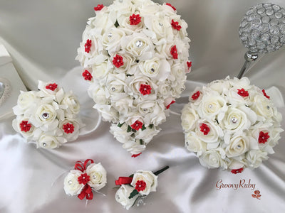 Rose Bouquets With Red Satin Diamante Flowers