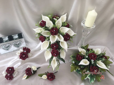 Burgundy Rose & Large Ivory Calla Lily