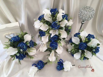 Royal Blue Glitter Roses & Large White Calla Lily