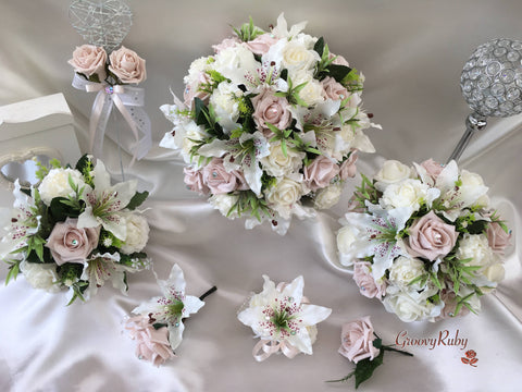 Small Tiger Lilies Vintage Mocha Pink Roses With Foliage